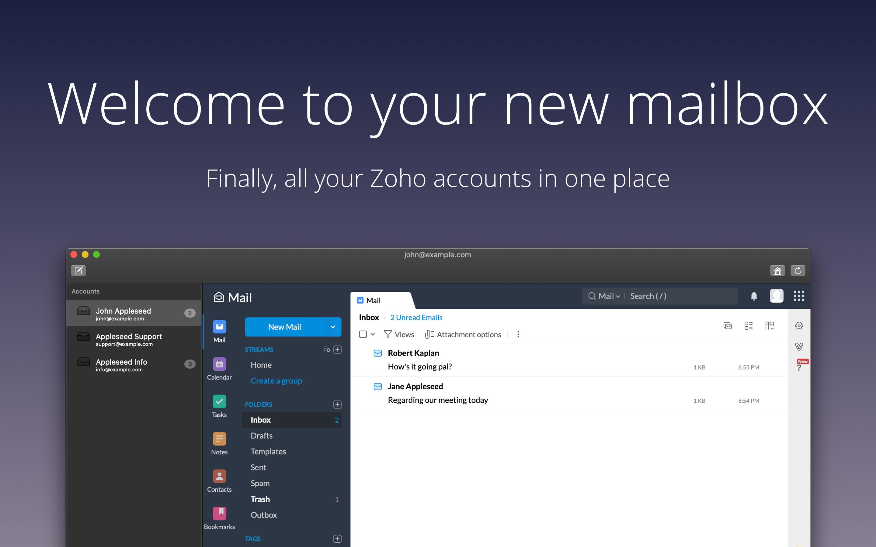 all your Zoho accounts in one place; multi-accounts supported.